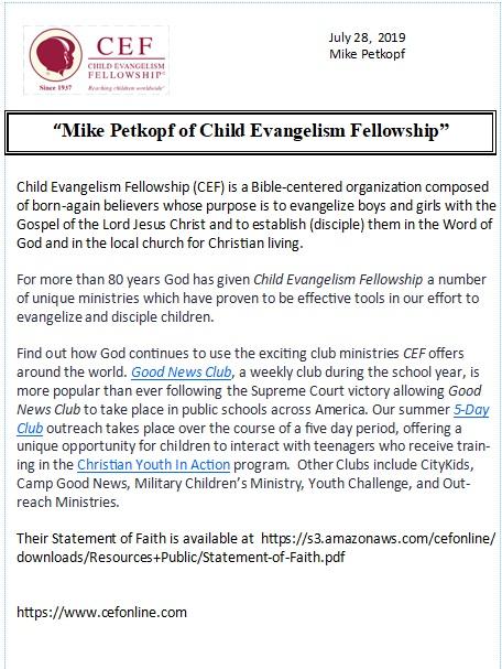 Mike Petkopf of Child Evangelism Fellowship – Visit Laurel Hill